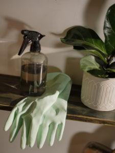 montascale pulizia con guanti e spray